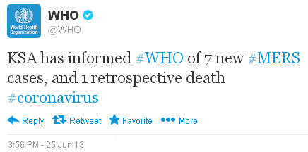 WHO Announces MERS-CoV Cases via Twitter